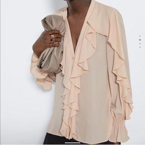 NWT Zara ruffle button-down blouse Sz L